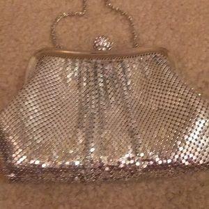 Kate Landry evening bag silver hide a way straps